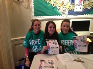 Students promoting the recycling drive to benefit Girl Up.